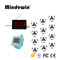 Mindewin Restaurant Office Wireless Calling Paging System 12 Transmitter Call Button + 1 Receiver Display Host +1 Watch Pager|watch pager|call button|paging transmitter -
