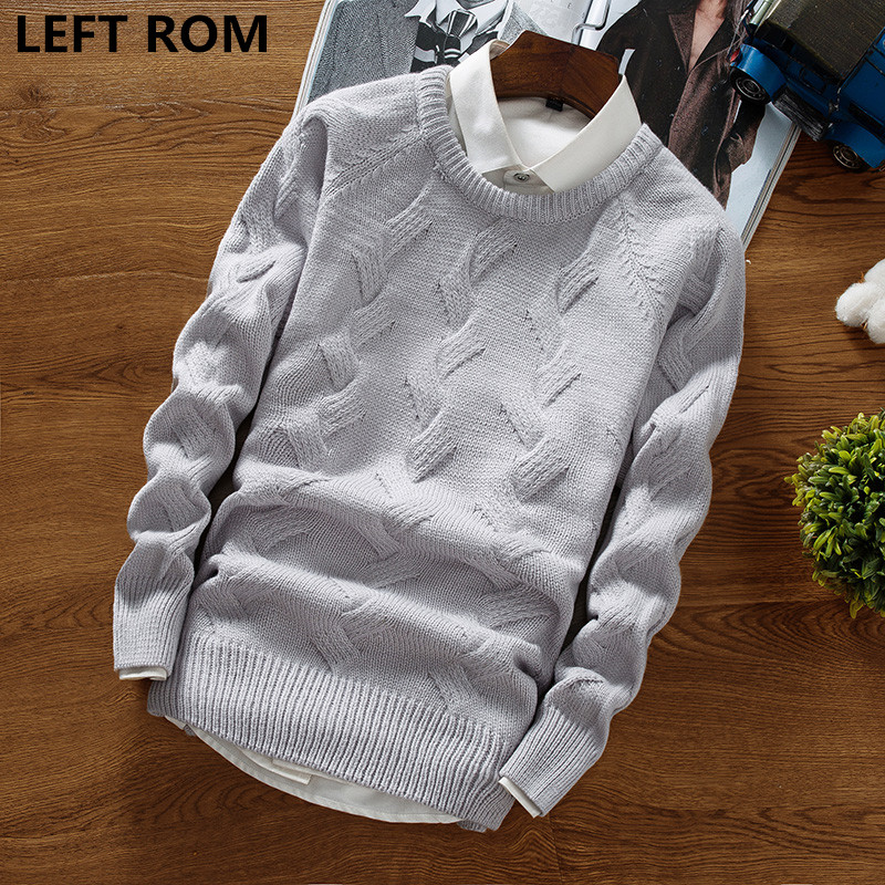 LEFT ROM Fashion men winter thermal knit sweaters/male pure color Round collar Set head leisure Knit shirt S-XXL