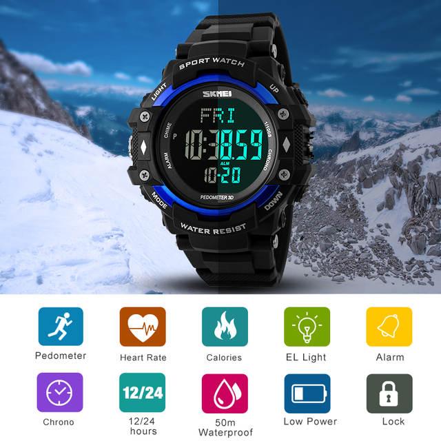 74cc8e4c SKMEI Для мужчин спорт здоровье Часы 3D шагомер сердечного ритма Мониторы  счетчик калорий 50 м Водонепроницаемый