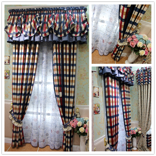 Plaid Curtains Child Mediterranean Curtain Window Curtains For Living Room  Bedroom Kids Bedroom Part 42