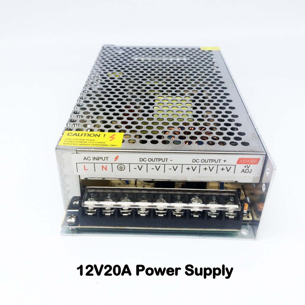240W 12V 20A 50/60Hz LED Switching Power Supply Transformer LED Strip 110V 220V AC to DC 12V Output for CCTV Cameras DVR System 25w 5v lp 25 5 4a ce mini size switching power supply transformer 110v 220v ac to dc 5v output for led strip light cctv