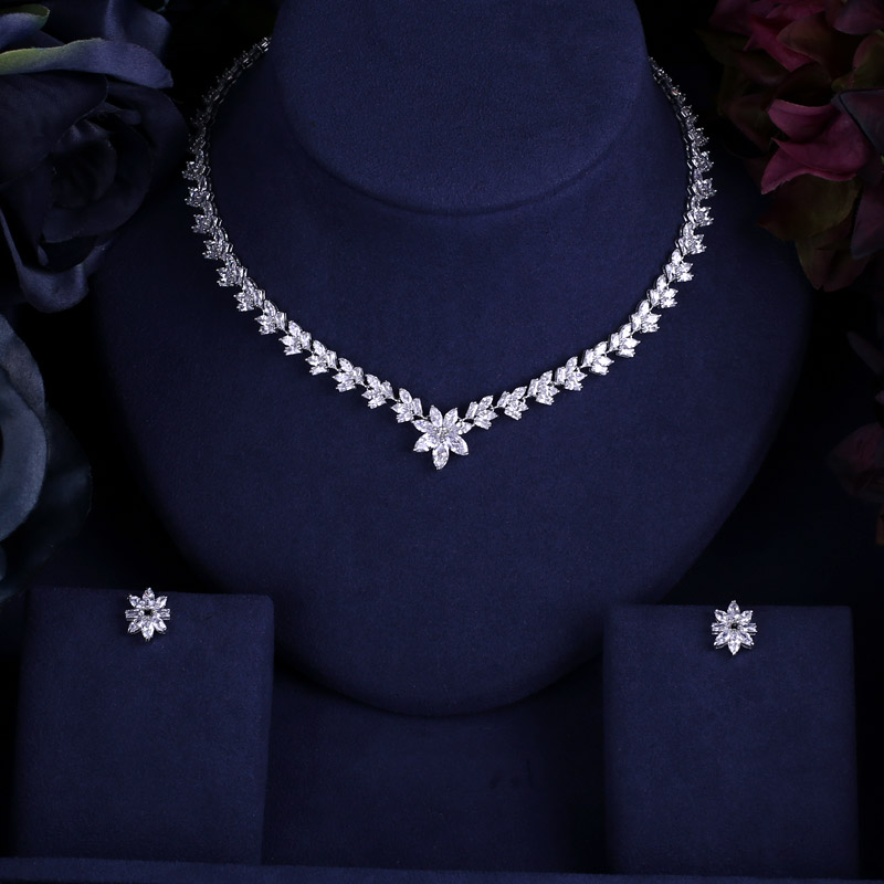 FleißIg Clear Brilliant Kristall Zirkon Ohrringe Und Halskette Sets Brautschmuck Set Hochzeitskleid Mithelfer Schmuck & Zubehör