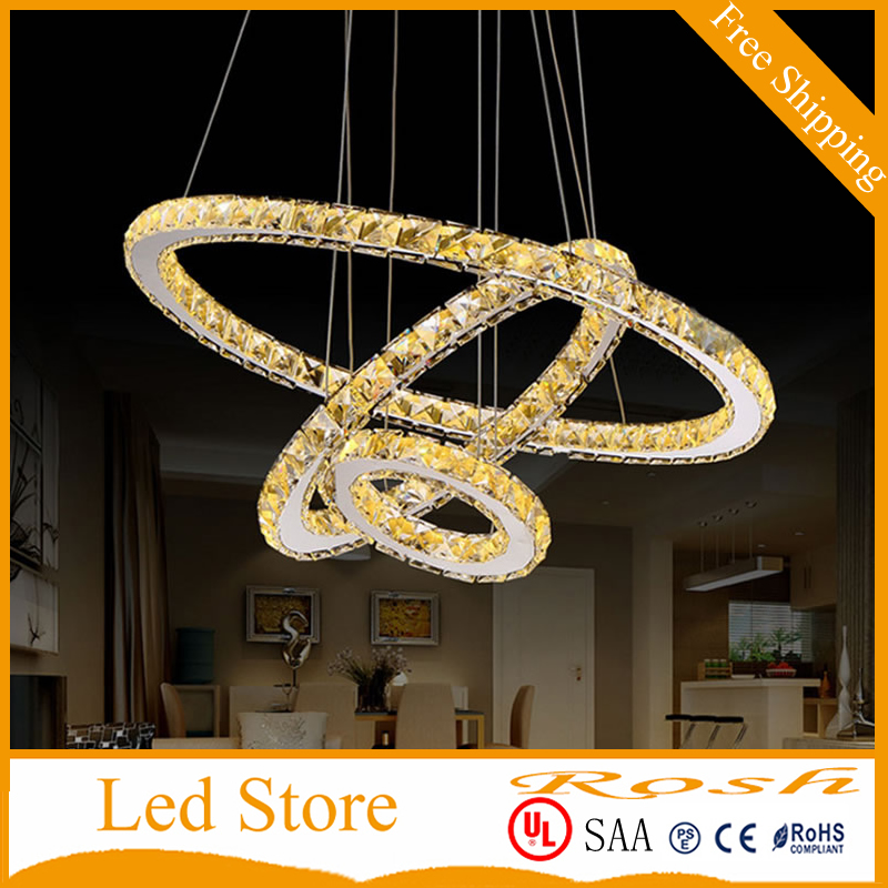 Ceiling Lights & Fans Imported From Abroad Modern Chandelier Led Crystal Ring Chandelier Crystal Light Fixture Light Suspension Led Lighting Circles Lamp Tri-tone Light Lights & Lighting