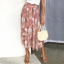 Богемные женские модные юбки с оборками, шифоновая Женская длинная юбка с цветочным принтом, плиссированная летняя юбка