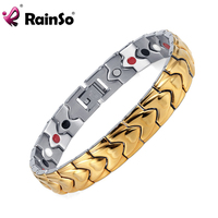 Rainso Brand Healing 4 In 1 Elements Magnetic Bracelet Men S Bijoux Gold Sivler Stainless Steel