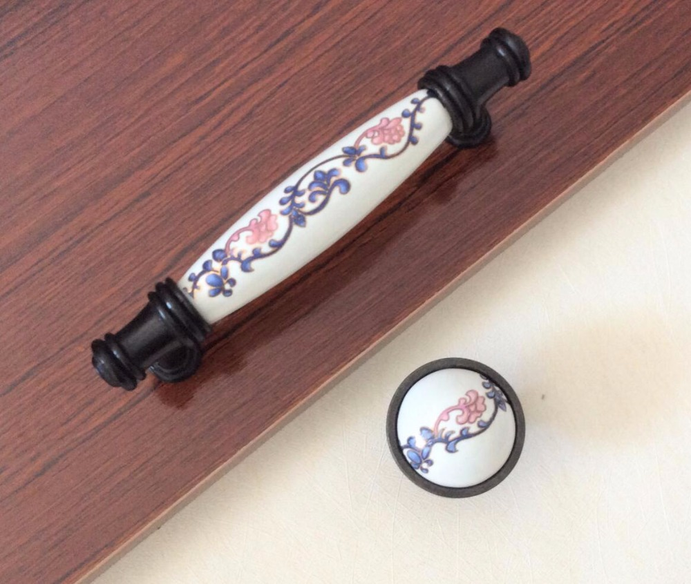 Ceramic Plum blossom Pulls Drawer Handles knobs Countryside Dresser Handles / Cabinet Handles Kitchen Decorative Hardware css clear crystal glass cabinet drawer door knobs handles 30mm