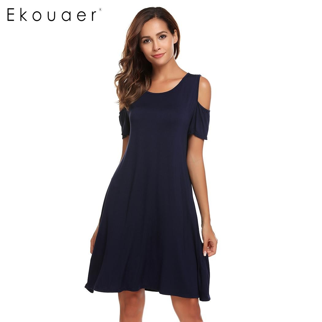 Ekouaer Nightgowns Women Sleepwear Cold Shoulder Short Sleeve Solid Nightgown Sleep Dress Sleepshirt Female Nightdress Homewear