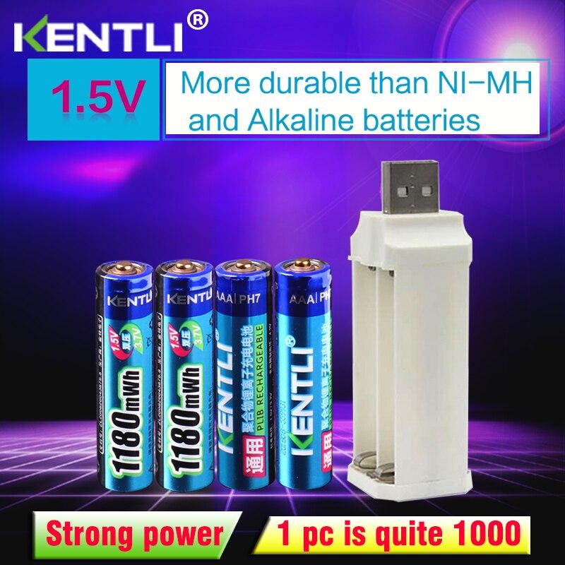 4 pièces KENTLI 1.5 v 1180mWh aaa polymère au lithium batteries rechargeables li-ion batterie + 4 slots lithium li-ion chargeur