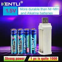 Baterías recargables de li-ion de litio aaa de 1,5 v 1180mWh de 4 Uds. + cargador de li-ion de litio de 4 ranuras