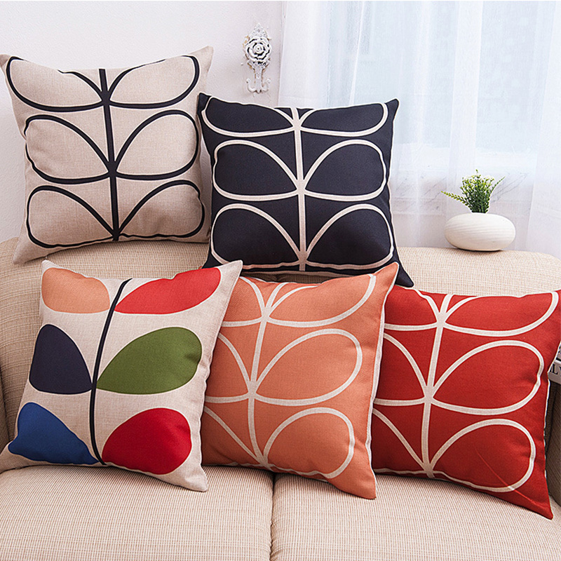 Maiyubo Linen Decorative Cushion Cover Home Sofa Throw Pillow Covers Decor Ink Lotus