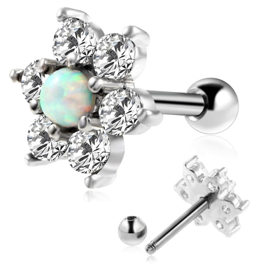 1Pair Opal Crystal Flower Fake Piercing Earring Ear Tragus Cartilage Ear Stud Ear Gauge Pircing Oreja Orelha Body Jewerly Пирсинг ушей