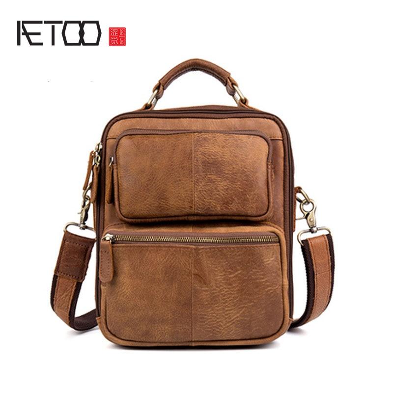 AETOO Retro Grinding Cowhide Shoulder Skimmed Handbag Postman Handbag Leather Handbag