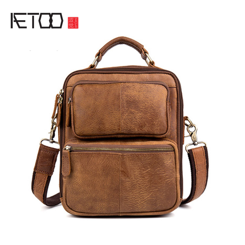 AETOO Retro Grinding Cowhide Shoulder Skimmed Handbag Postman Handbag Leather Handbag цены