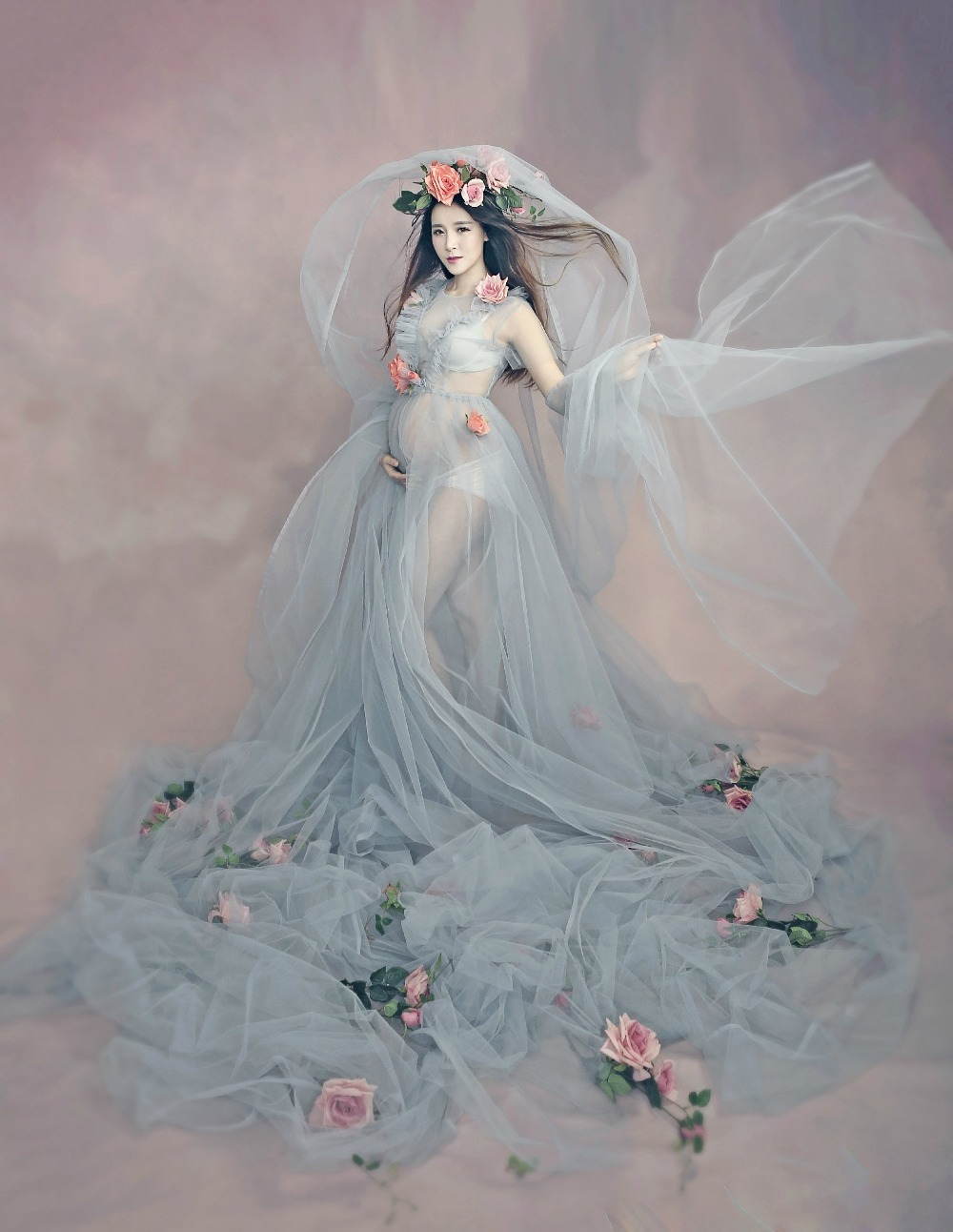 Women Fashion Maternity Photography Props Romantic Elegant long ...