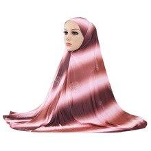 120 см большой хиджаб мусульманский цельный длинный хиджаб(цвет 7 с зеленым