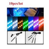 Wholesale 10pcs Car Atmosphere Lamp DC 12V LED Strip Lights Dash Floor Foot Light Automobiles LED