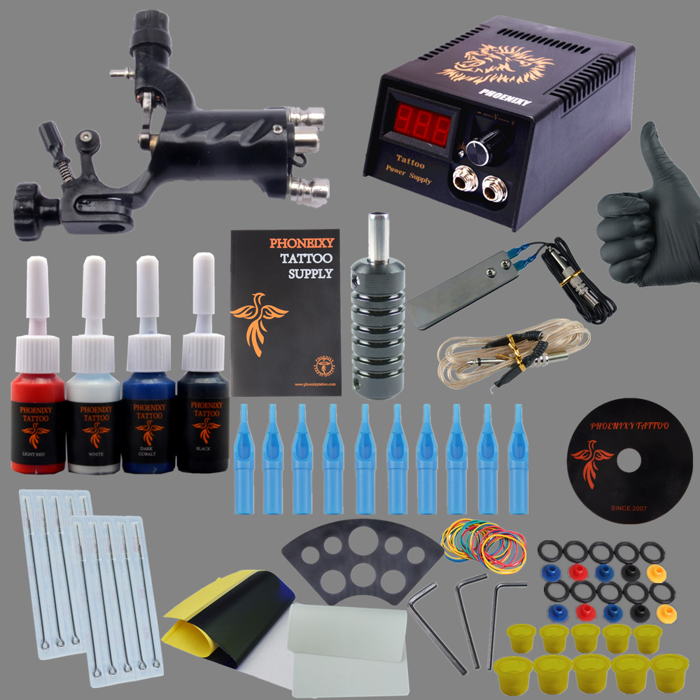 ФОТО Complete Tattoo Kits 1 Rotary Tattoo Machine Sets Power Supply Disposable Needle 4 Colors 5ml Tattoo Ink LCD Tattoo Power