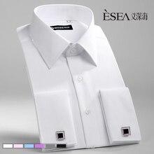 Замуж запонки рубашку французский сплошной длинными рукавами легкий рубашки уход длинным
