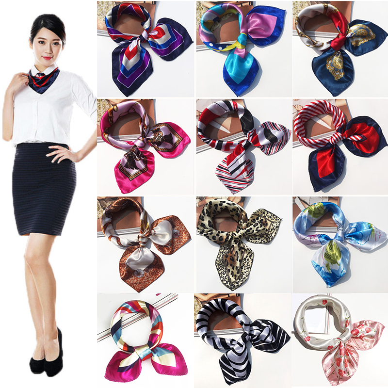 50x50cm Shawl Striped Scarf Women Girls Hotel Waiter Flight Attendants Business Printing Square Imitate Elegant Silk Soft Scarf
