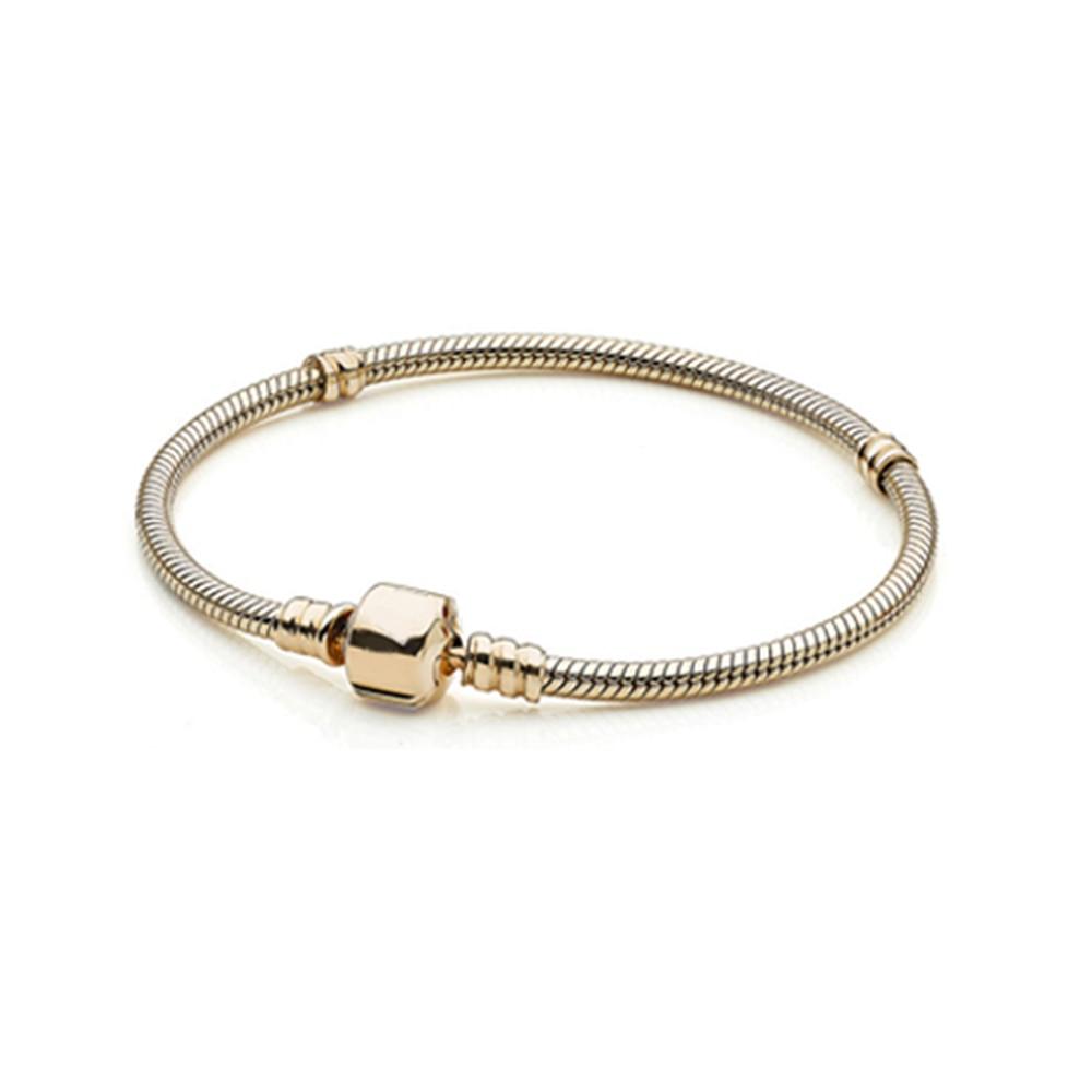 High Quality 925 Silver 17-23cm Plated Rose Gold 3mm SnakeChain Bracelet Fit P brand Bracelets Women DIY Making Jewelry w/logo