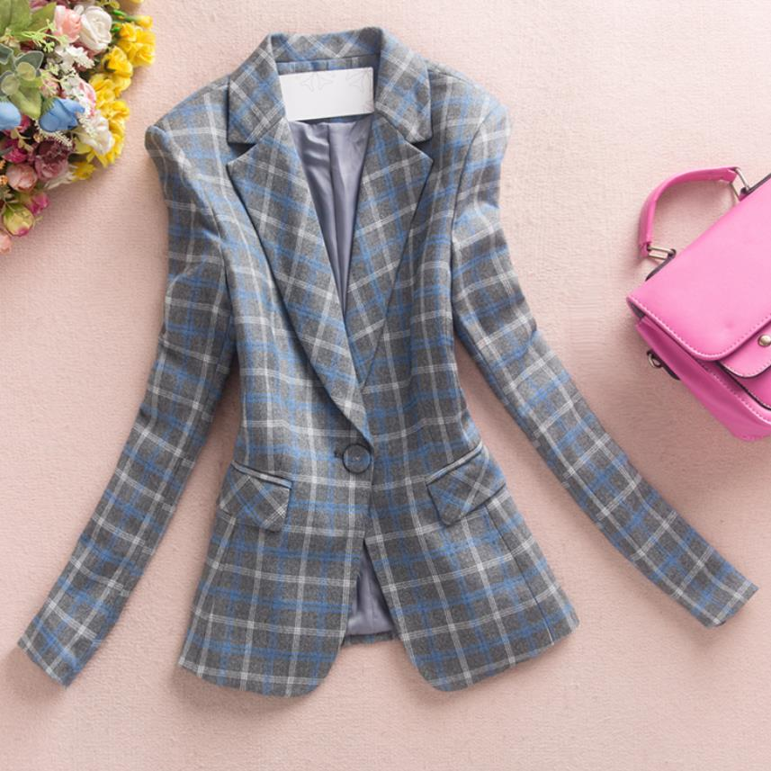 Plaid Small Suit Women 2019 New Spring Autumn Slim Long Sleeve Office Lady Blazer Plus Size 4XL