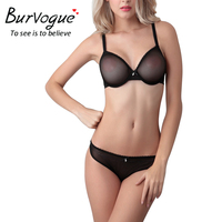 Burvogue 2016 Women SummerLace Bra Sets Mesh Lingerie Bra Set Push Up Bra Pants Transparent Bra