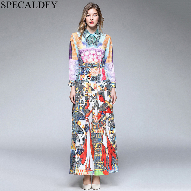 54c746cf5a Autumn Dress Designer Runway Dresses Women Luxury Print Long Maxi Dress  Vintage Party Dresses High Quality Women Fashion 2018