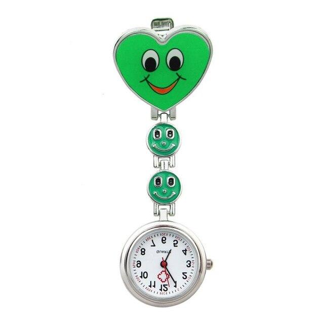 Timezone#301 Simple Unisex Watch Heart Shape Quartz Movement Nurse Brooch Fob Tunic Pocket Watch