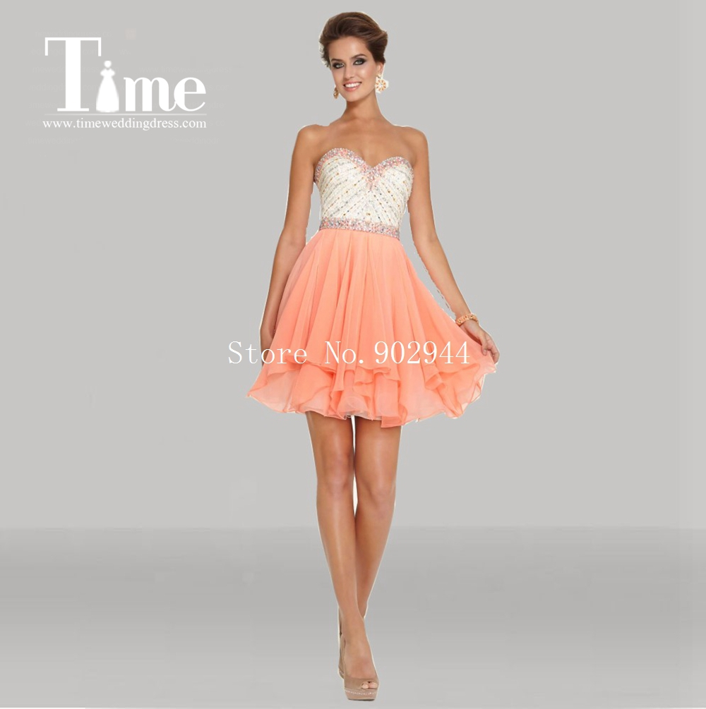 peach short homecoming dresses sweetheart beading short ...
