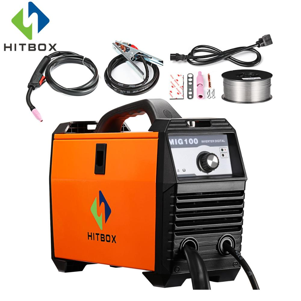 HITBOX MIG Welder No Gas MIG Welding Machine MIG100A Single Phase 110V Accessories And Flux Cored Wire сандалии из кожи baden