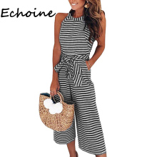 Echoine Elegant Summer Striped Jumpsuit Sleeveless Front Tie Bodysuit Rompers Womens Jumpsuit Overalls Plus Size 2XL 3 Color
