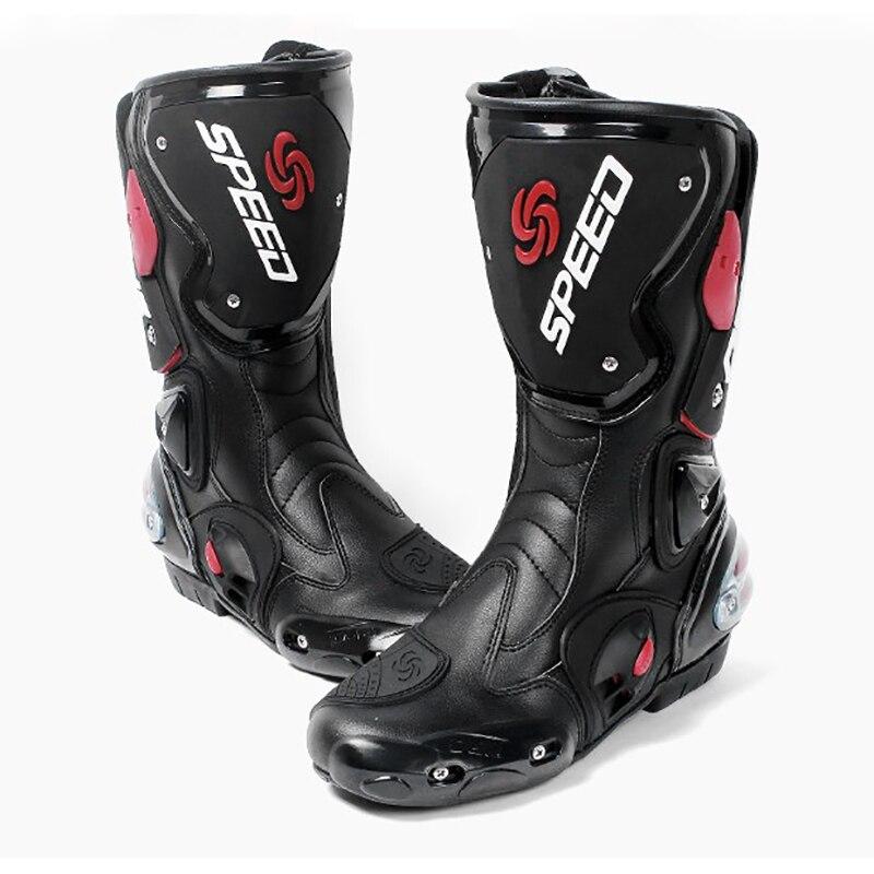 Botas De Corrida De Motocross Da Motocicleta Profissional dos homens de Microfibra Couro De Alta bota de proteção Equipamentos de Proteção Do Cilindro 4 estações