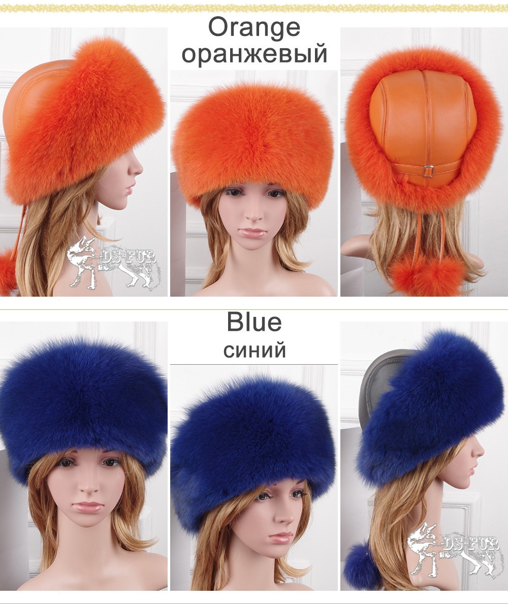 Women leather real fox fur hats01