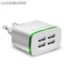 LuckGuard, USB зарядное устройство, штепсельная вилка европейского стандарта, 5 В, 4 порта, светодиодный светильник для путешествий, настенное зарядное устройство, адаптер для зарядки iPhone X, XS, MAX, 8, 7, samsung, S9, S8