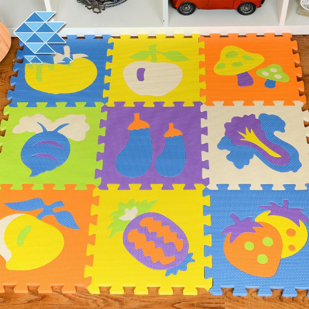 9pcs baby EVA Foam Play Puzzle Mat Interlocking Exercise Tiles Floor Carpet Rug for Kid Fruit Letter Play Crawling Carpet Mat