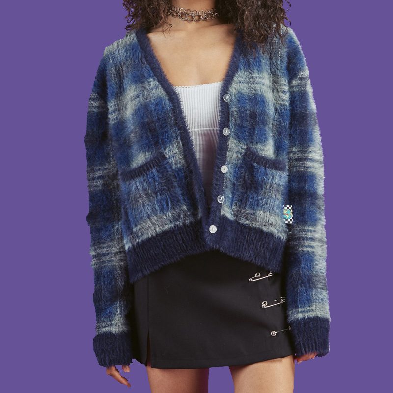 Nouvelle 2019 Printemps UNIF V Cou Cardigan Femmes Vintage Streetwear Tricoté Chandail Femmes Plaid Recadrée Féminin Cardigan