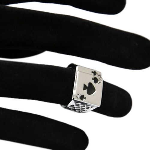 ผู้ชายสีขาวสีดำเคลือบS Padesโป๊กเกอร์แหวนนิ้วเครื่องประดับ