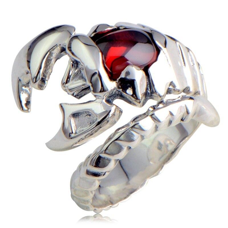 925 Sterling Silver Retro Scorpion King Scorpio Garnet Open Ring Men Thai Silver Fine Jewelry Gift