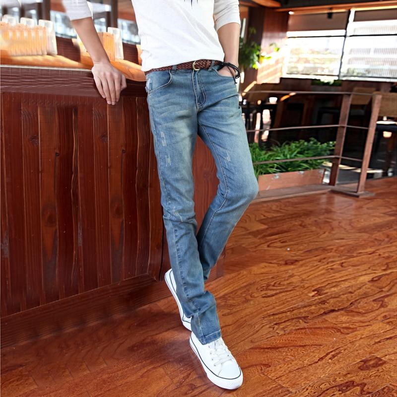 Blue font b Mens b font Jeans Cotton 2017 New Fashion Slim Business Male Cowboy Trousers