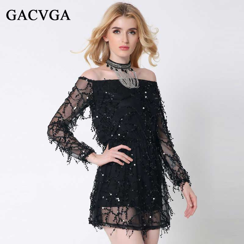 Buy Cheap Sexy Slash Neck Sequin Dress Summer/Autumn Women Beach A-Line Lace Dresses Party Dress