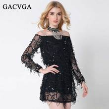 Sexy Slash Neck Sequin Dress Summer/Autumn Women Beach A-Line Lace Dresses Party Dress