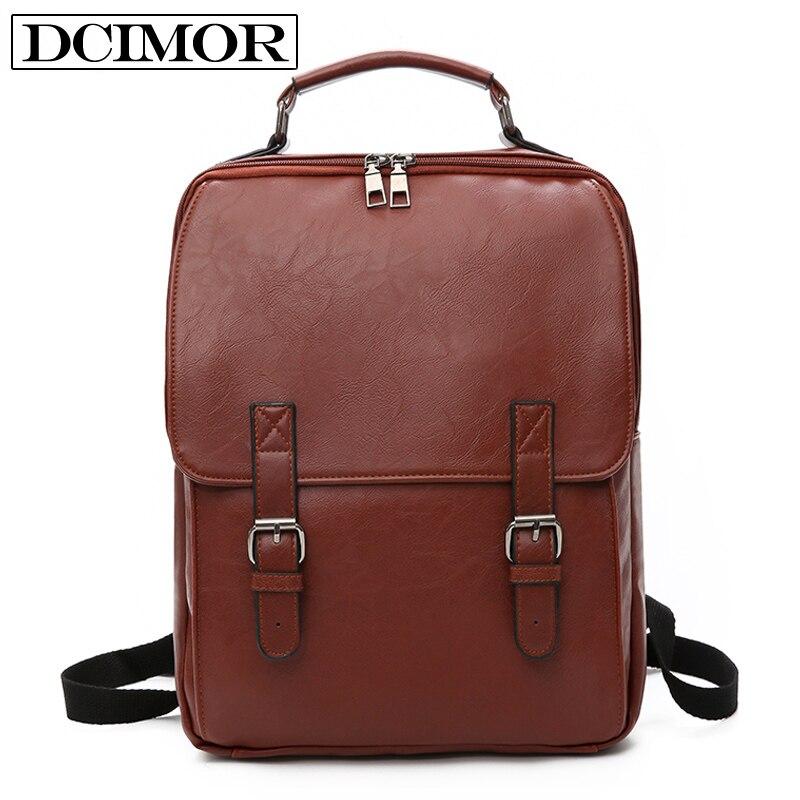DCIMOR 15 6 inch laptop backpack Unisex leather backpacks for teenager Men Casual Daypacks mochila Women