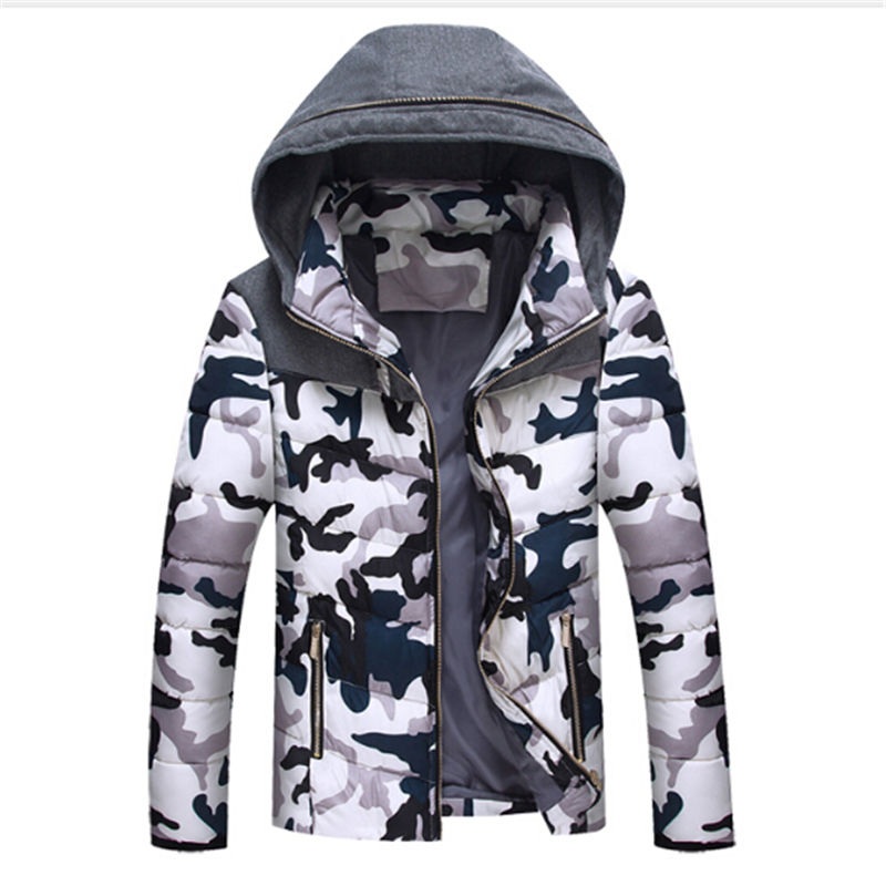 цена на Free shipping 2017 Camo Winter Coat Young Men Down Thickened Cotton Jacket With Cap Short Slim Korean Male Male Windproof Cotton