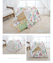 Easy to clean and carry cotton dog house Four-season pet Four-corner tent Geometric pattern Bracket