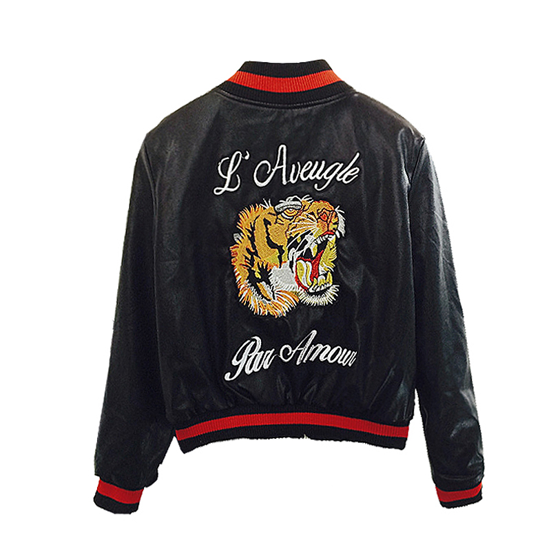 Fashion Faux Leather Bomber Jacket Women Tiger Head Embroidery Short Motorcycle Pu Leather Jacket Outerwear Womens Casaco