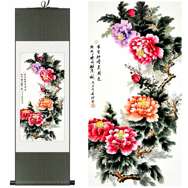 chinese silk traditional watercolor flower birds rich peony ink art