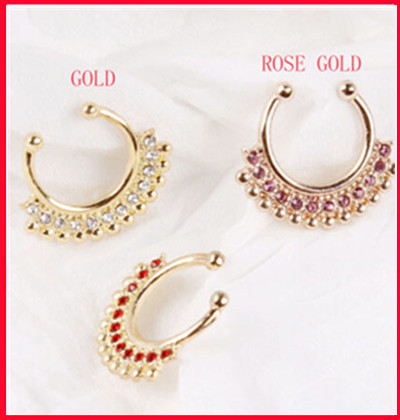 Uni Punk Non Piercing Fake Nose Ring Stud Hoop Gold Fake