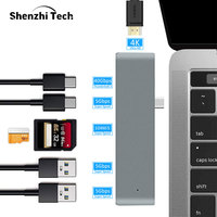 USB C Hub Aluminum Multi Adapter with 4K HDMI SD Card Reader Type C Charging Port USB 3.0 Port 7 in 1 for MacBook Laptop Desktop