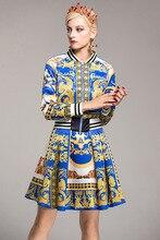 Autumn women vintage coat skirt suits 2018 Fall winter retro print jackets+skirts two piece set D550