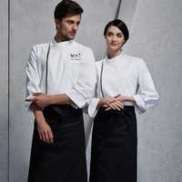 2019 Spring food service zip closure durable an comfortable white chef coat for man restaurant cook clothes for woman